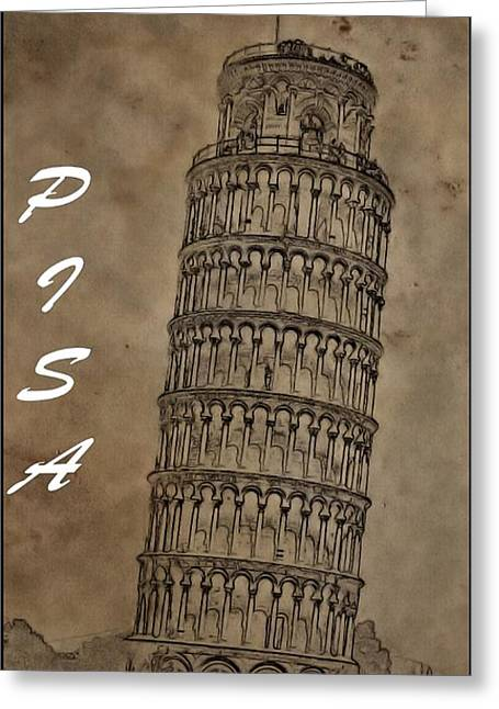 Fame Mixed Media Greeting Cards - Torre De Pisa Greeting Card by Dan Sproul
