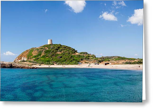 Saracen Greeting Cards - Torre Di Chia With The Saracen Tower Greeting Card by Panoramic Images
