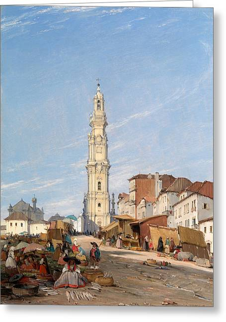 Portugal Paintings Greeting Cards - Torre Dos Clerigos Oporto Portugal Greeting Card by James Holland