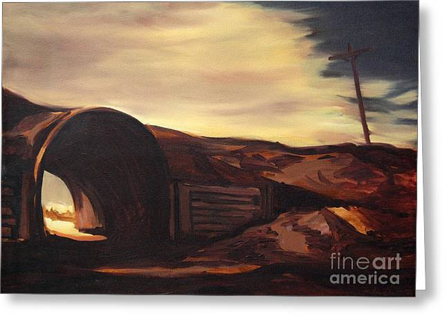 Film Noir Paintings Greeting Cards - Torrence Avenue Landscape Greeting Card by Christopher Buoscio