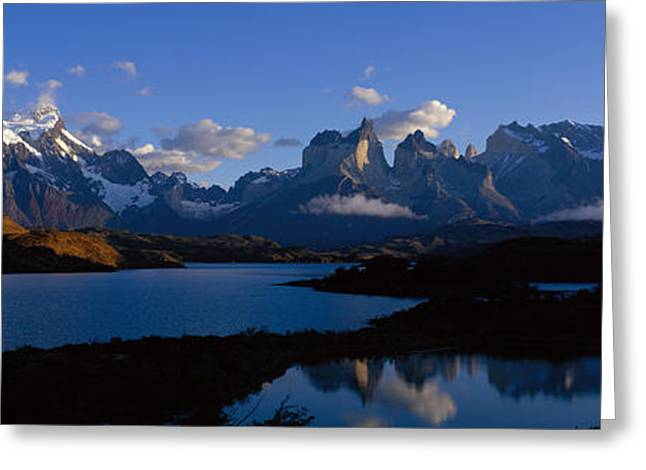 Snow Capped Greeting Cards - Torres Del Paine, Patagonia, Chile Greeting Card by Panoramic Images