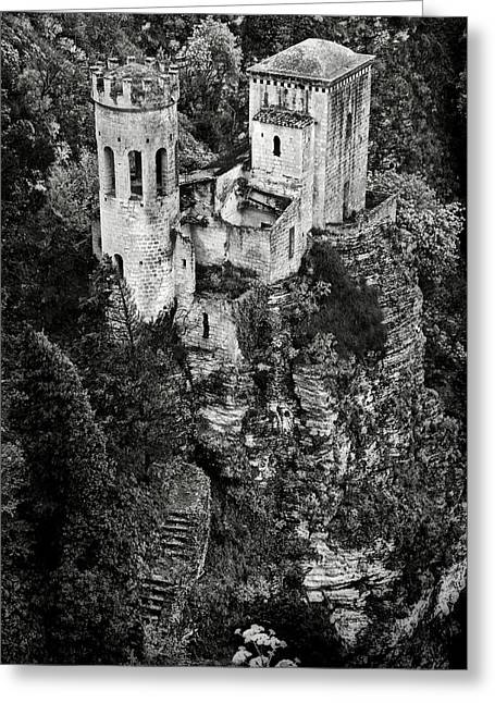 Erice Greeting Cards - Torretta Pepoli BW Greeting Card by RicardMN Photography