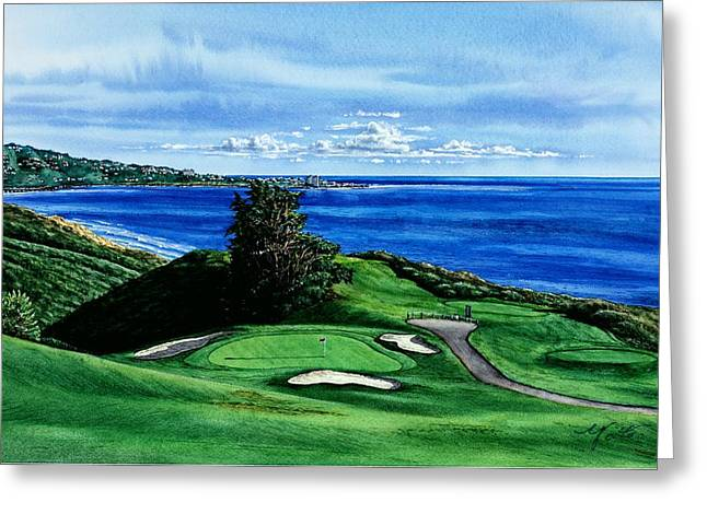 Images Of San Diego Greeting Cards - Torrey Pine Golf Course San Diego California Greeting Card by John YATO