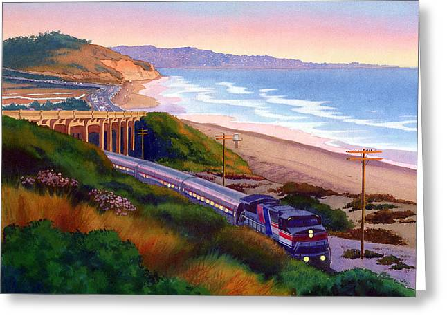 Pines Paintings Greeting Cards - Torrey Pines Commute Greeting Card by Mary Helmreich