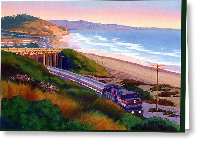 Torrey Pines Commute Greeting Card by Mary Helmreich