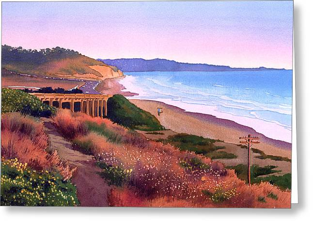 Rt. Greeting Cards - Torrey Pines Dusk Greeting Card by Mary Helmreich