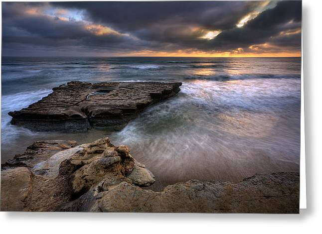 Torrey Pines Greeting Cards - Torrey Pines Flat Rock Greeting Card by Peter Tellone