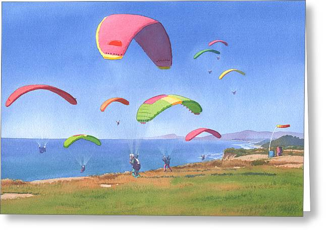 Cliff Paintings Greeting Cards - Torrey Pines Gliderport Greeting Card by Mary Helmreich