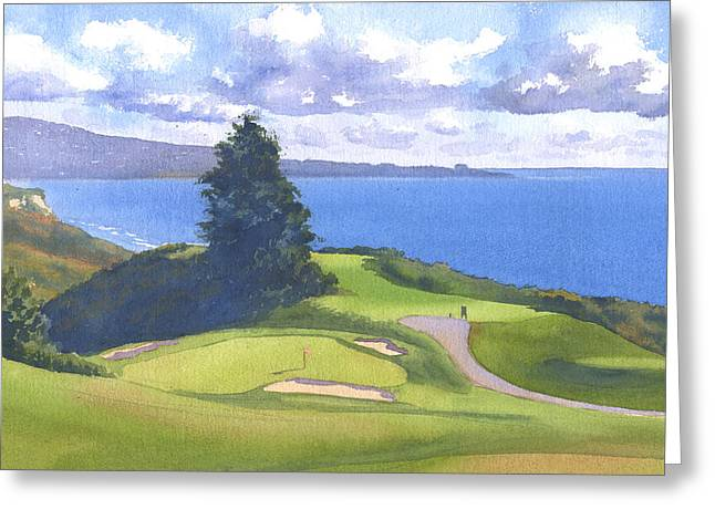 Course Greeting Cards - Torrey Pines Golf Course 1 Greeting Card by Mary Helmreich