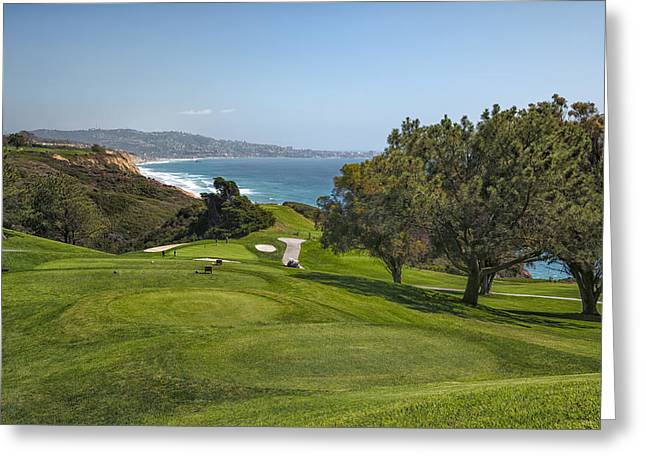 Golf Hole Greeting Cards - Torrey Pines Golf Course North 6th Hole Greeting Card by Adam Romanowicz