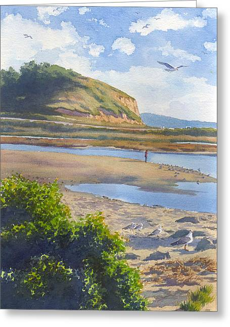 Seagull Greeting Cards - Torrey Pines Inlet Greeting Card by Mary Helmreich