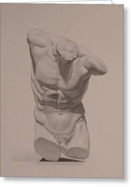 Greek Sculpture Drawings Greeting Cards - Torso Greeting Card by Andrew Sandberg