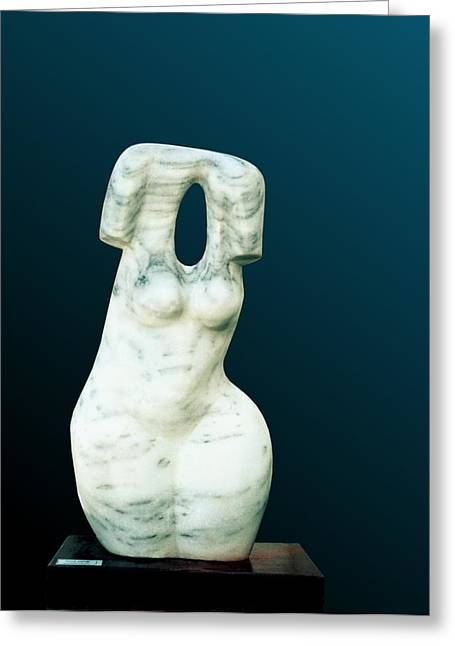 Figurative Sculptures Greeting Cards - Torso Woman   Greeting Card by Shimon Drory