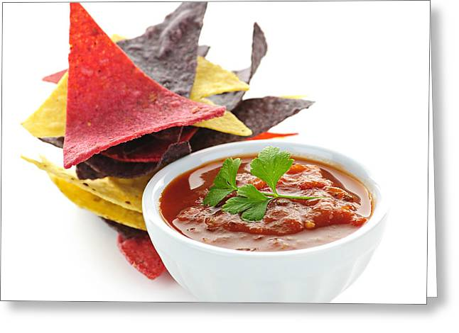 Tortilla chips and salsa Greeting Card by Elena Elisseeva