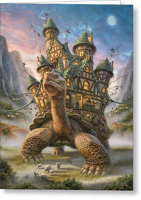 Recently Sold -  - Fantasy Tree Greeting Cards - Tortoise House Greeting Card by Phil Jaeger