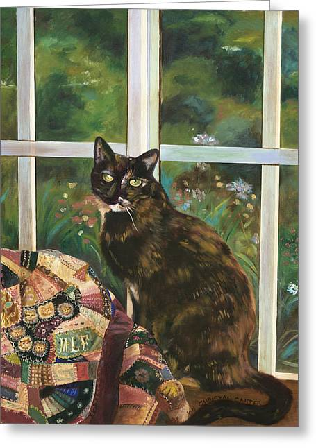 Crazy Quilt Greeting Cards - Tortoise Shell Cat Greeting Card by Christal Carter