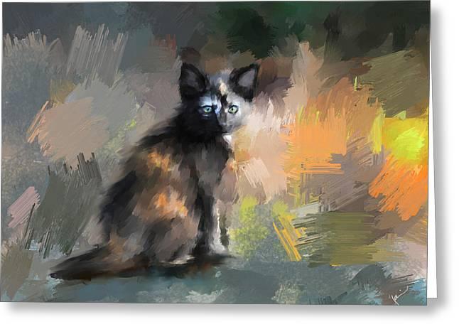 Cute Kitten Paintings Greeting Cards - Tortoiseshell Kitten #1 Greeting Card by Jai Johnson