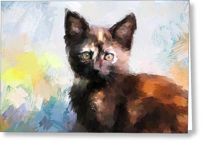 Cute Kitten Paintings Greeting Cards - Tortoiseshell Kitten #2 Greeting Card by Jai Johnson