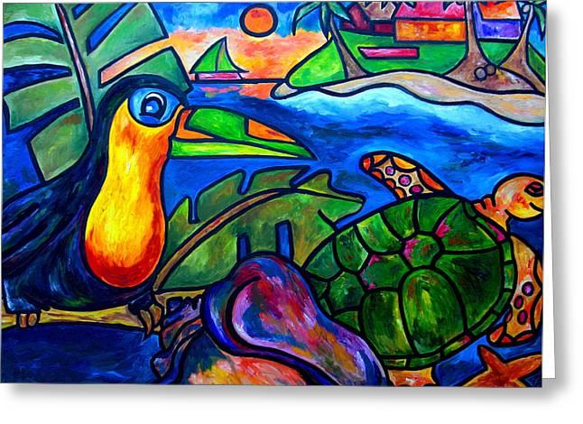 Beach House Greeting Cards - Tortuga Eco Tour Greeting Card by Patti Schermerhorn