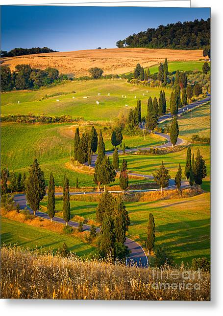 Italian Landscapes Greeting Cards - Toscana Strada Greeting Card by Inge Johnsson