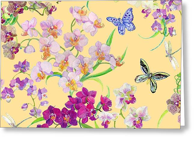 Orchids Greeting Cards - Tossed Orchids Greeting Card by Kimberly McSparran