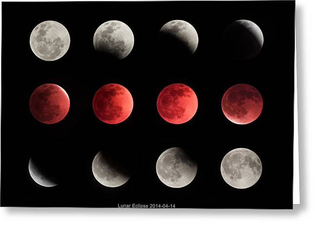 Ming Huang Greeting Cards - Total Lunar Eclipse  Greeting Card by Ming Huang