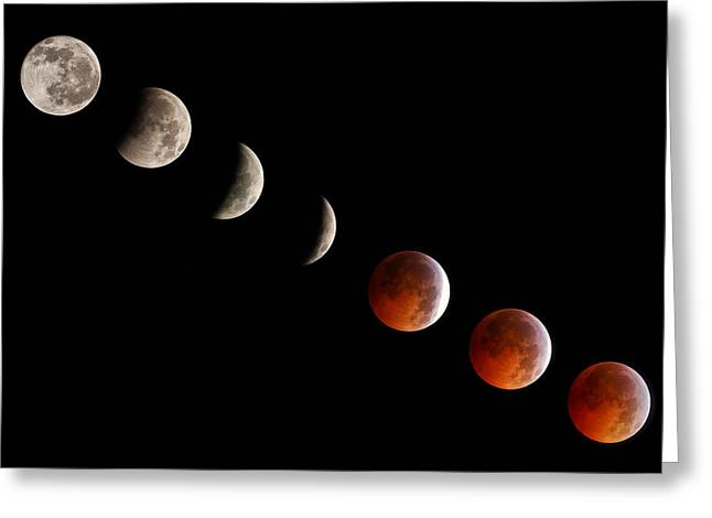 Science Greeting Cards - Total Lunar Eclipse Progression Greeting Card by Dancasan Photography