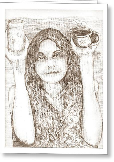 Waitress Drawings Greeting Cards - Totally Nude Vegan Coffee Shop Greeting Card by Joseph Wetzel