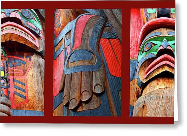 Red Cedar Greeting Cards - Totem 3 Greeting Card by Theresa Tahara