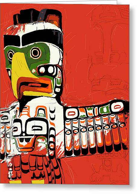 British Columbia Greeting Cards - Totem Pole 02 Greeting Card by Catf