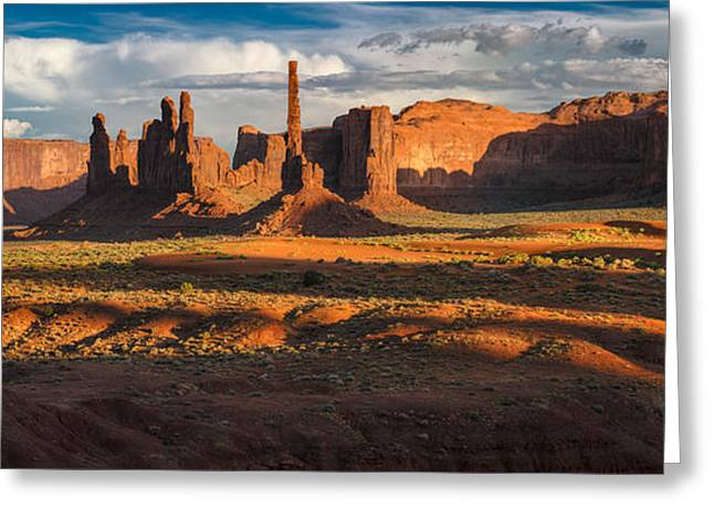 Yei Greeting Cards - Totem Pole And Yei Bi Chei Monument Valley Greeting Card by Steve Gadomski