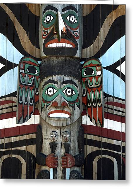 Wooden Sculpture Digital Art Greeting Cards - Totem Pole Greeting Card by Design Windmill