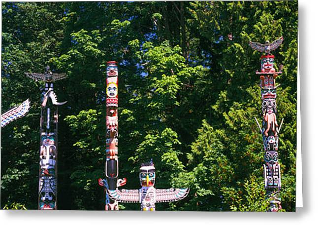 Stanley Park Greeting Cards - Totem Poles In A A Park, Stanley Park Greeting Card by Panoramic Images