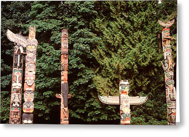 Indigenous Culture Greeting Cards - Totem Poles In A Park, Stanley Park Greeting Card by Panoramic Images