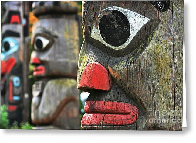 Woodcarving Greeting Cards - Totem Poles Greeting Card by JR Photography