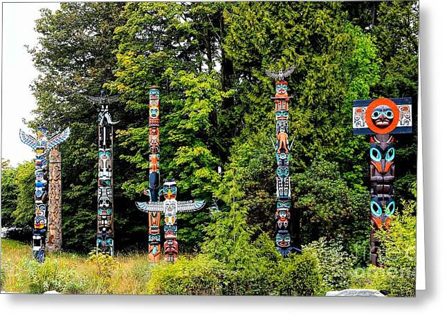 Charlotte Museums Greeting Cards - Totem Poles Greeting Card by Jon Burch Photography