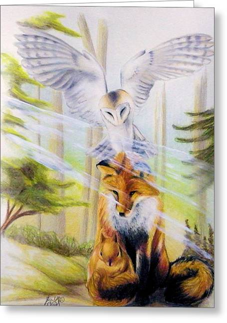 Fox Squirrel Drawings Greeting Cards - Totem  Greeting Card by Scarlett Royal