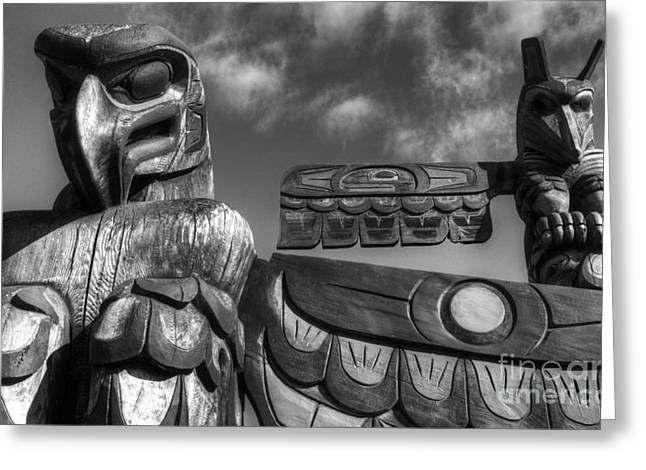 Wood Carving Greeting Cards - Totems 2 Greeting Card by Bob Christopher