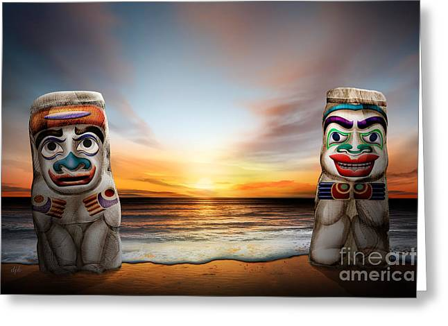 Vancouver Mixed Media Greeting Cards - Totems At Sunset Greeting Card by Bedros Awak