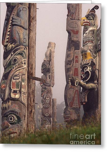 Painted Wood Greeting Cards - Totems Guard Nimpkish Tribe Burial Greeting Card by Ron Sanford