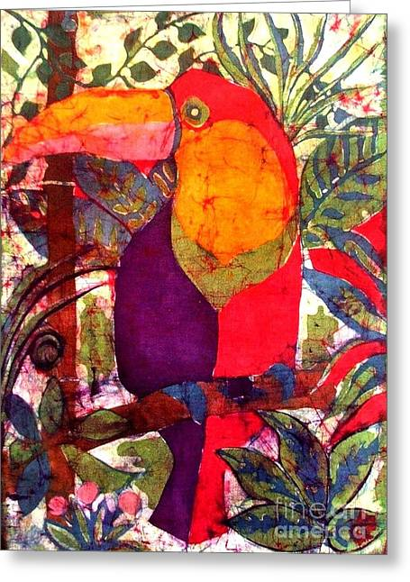 Caroline Street Greeting Cards - Toucan Batik Greeting Card by Caroline Street