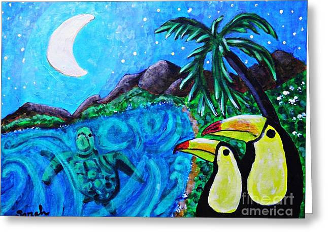 Sarah Loft Paintings Greeting Cards - Toucan Bay Greeting Card by Sarah Loft