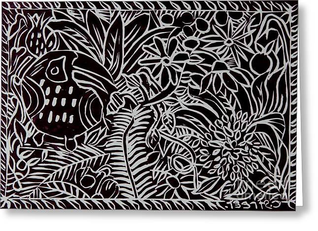 Printmaking Paintings Greeting Cards - Jungle Scene with Toucan Black  Greeting Card by Caroline Street