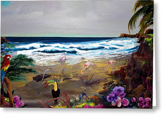 Seacape Digital Art Greeting Cards - Toucan Isle Greeting Card by Perry Case