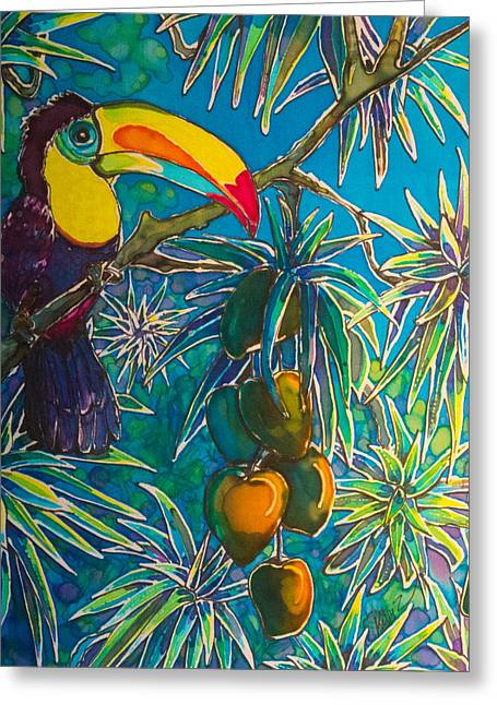 Orange Tapestries - Textiles Greeting Cards - Toucan Tango for Mango Greeting Card by Kelly  ZumBerge