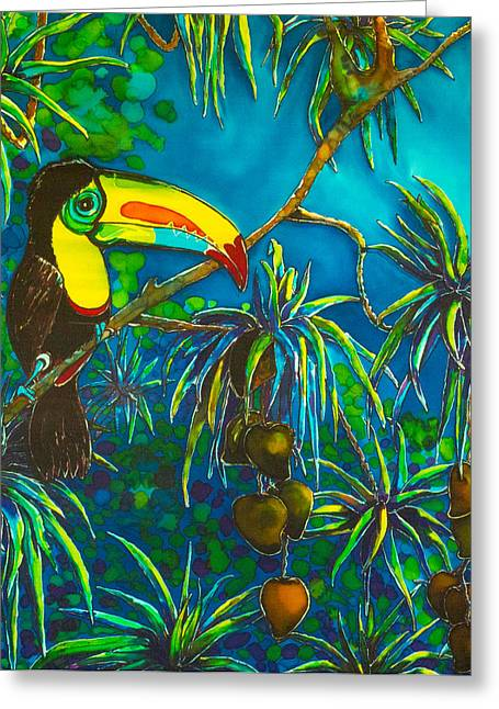 Orange Tapestries - Textiles Greeting Cards - Toucan Tango for Mango Take 2 Greeting Card by Kelly ZumBerge