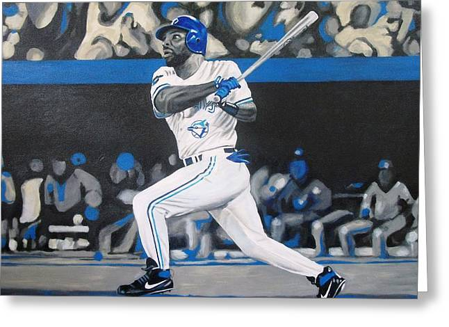 Baseball Print Paintings Greeting Cards - Touch em all joe Greeting Card by Paul Smutylo
