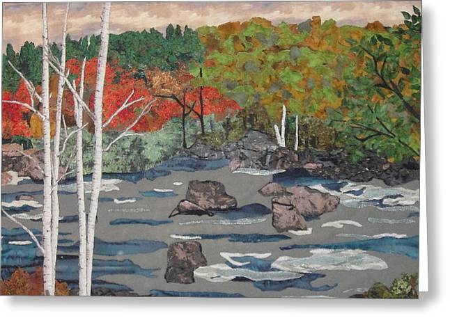 Stream Tapestries - Textiles Greeting Cards - Touch of Autumn Greeting Card by Anita Jacques
