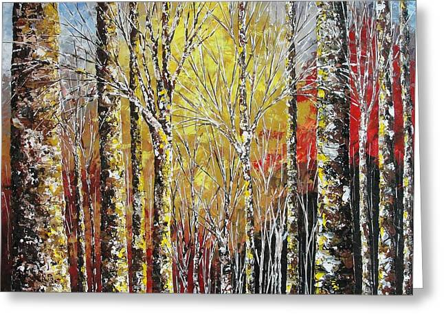 Pallet Knife Greeting Cards - Touch of Gold Greeting Card by Shilpi Singh
