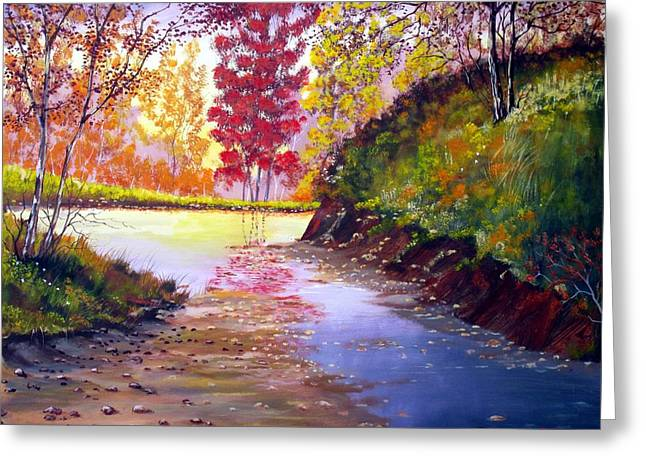 Beautiful Creek Greeting Cards - Touch Of Red Greeting Card by Michael Dillon
